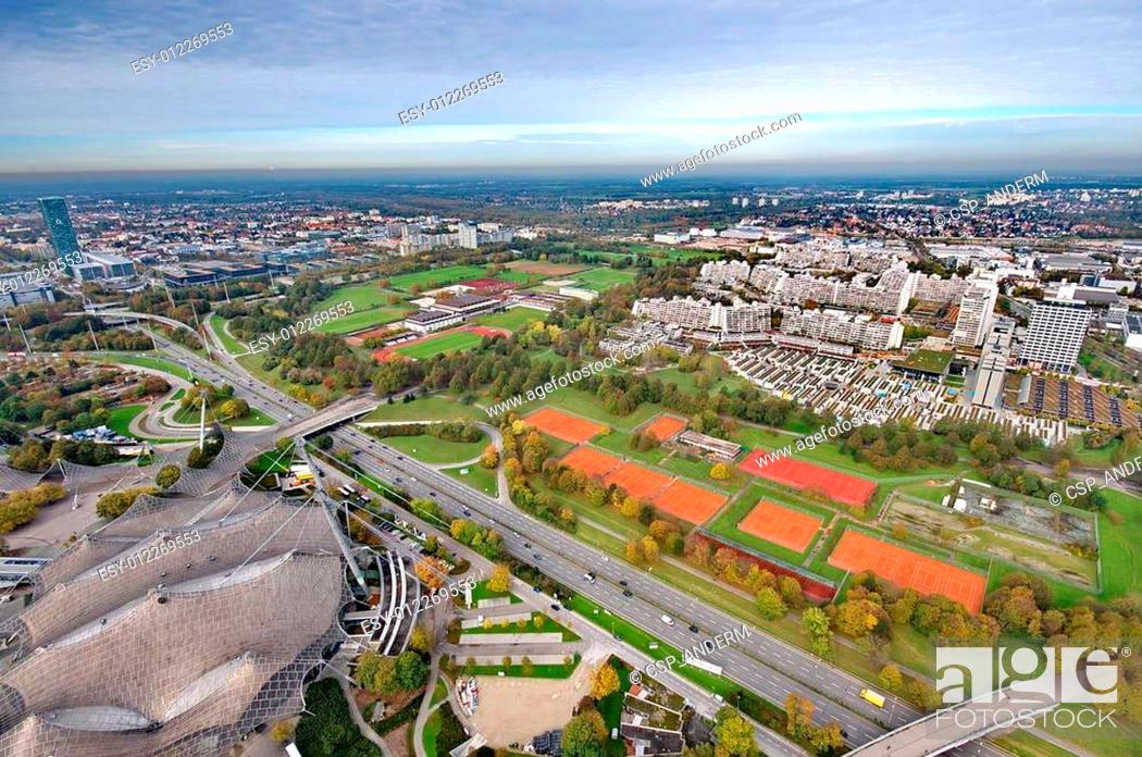 Stock Photo: Munich Olympiapark from the TV tover.