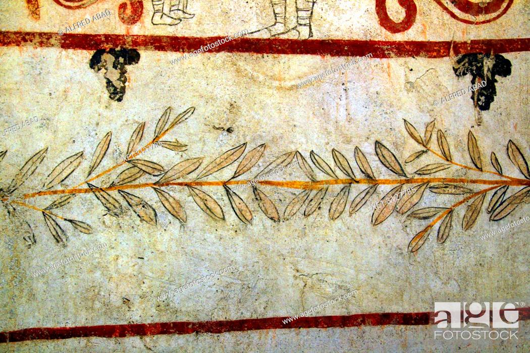 Stock Photo: Ancient Greek paintings, Archaeological museum, Paestum, Italy.
