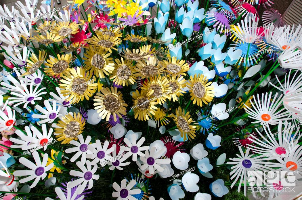 Stock Photo: Flowers made from recycled material.