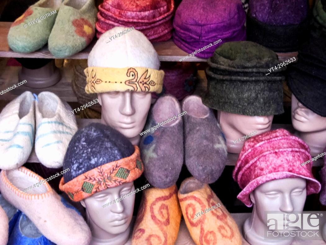 Stock Photo: Turkish Fashion, Hats and Slippers, Istanbul, Turkey.