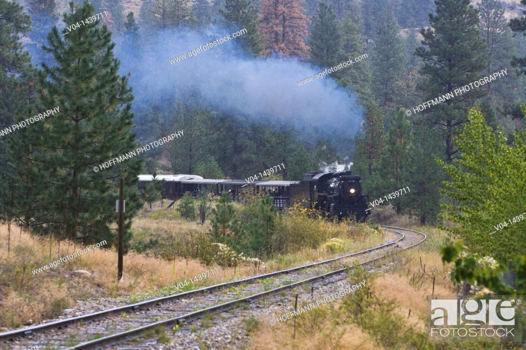 Stock Photo: Steam train of the Kettle Valley Steam Railway, Summerland, British Columbia, Canada.