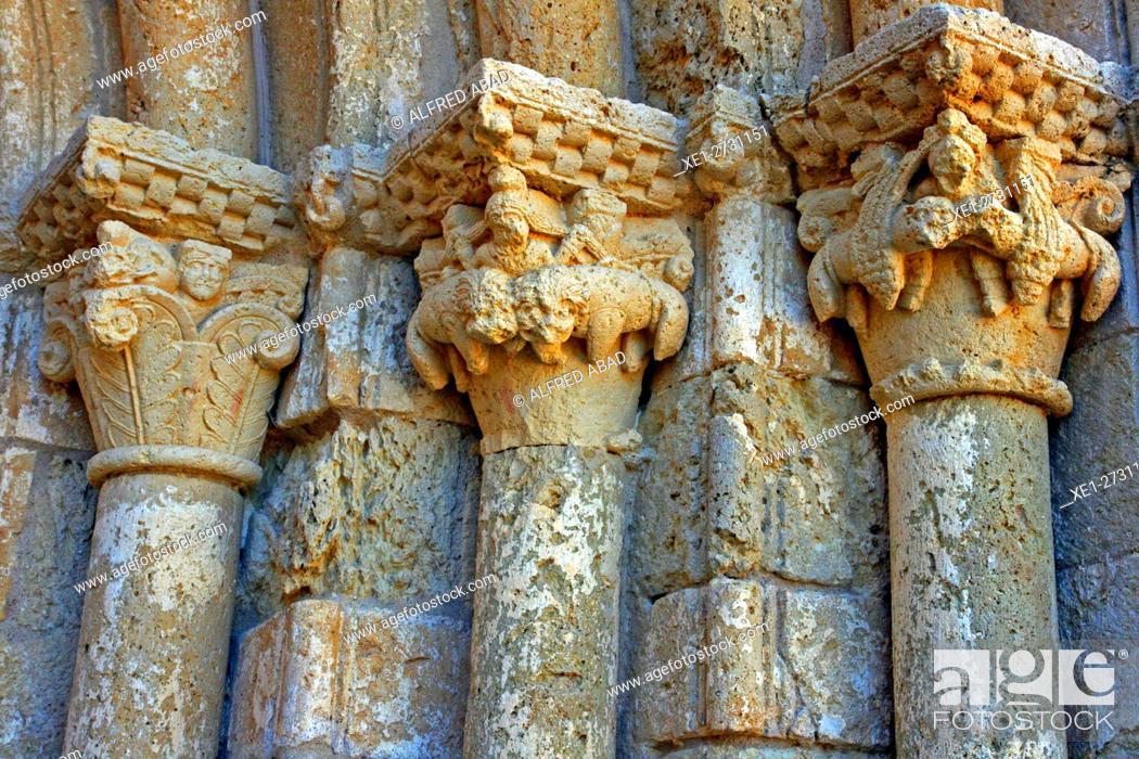 Stock Photo: Capitals, Church of Santa Maria, Sant Marti Sarroca, Catalonia, Spain.