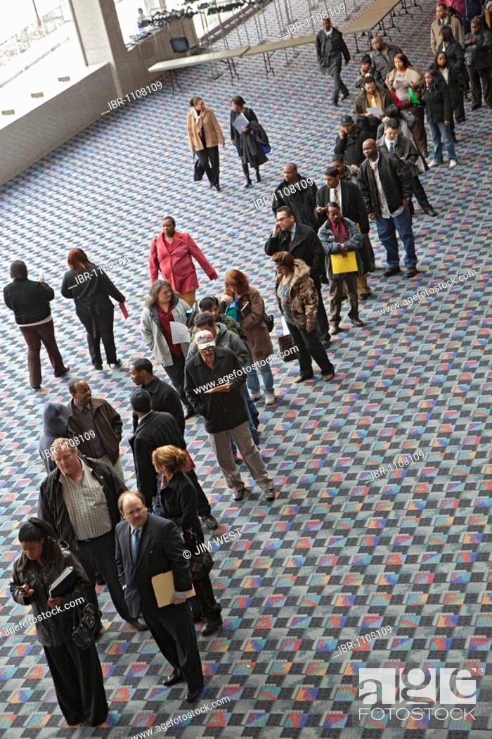 Stock Photo: More than 5000 unemployed residents of southeast Michigan showed up to look for work at a job fair sponsored by the city of Detroit, Detroit, Michigan, USA.