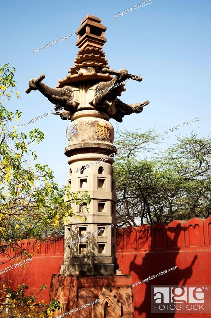 Stock Photo: Column at a temple, Lakshmi Narayan Temple, New Delhi, India.
