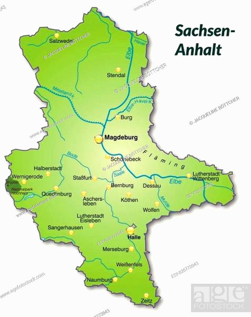 Karte Von Sachsen Anhalt Als Ubersichtskarte In Grun Stock Vector