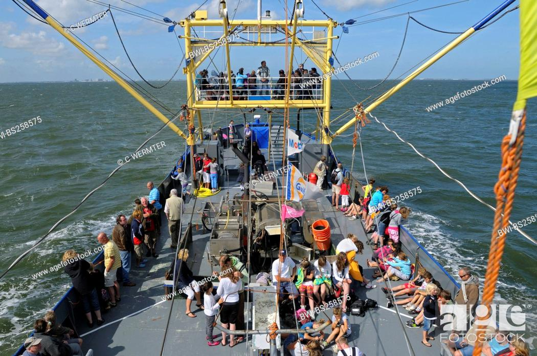 Stock Photo: shrimper, exkursion boat for tourists, Netherlands, Texel.