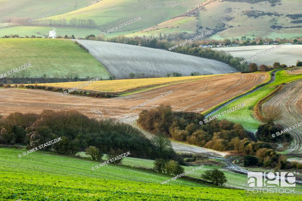 Stock Photo: Winter morning in South Downs National Park, East Sussex, England.