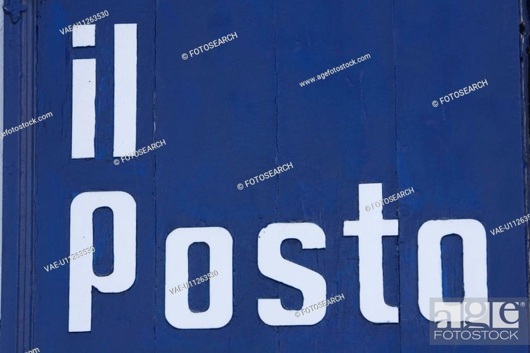 Stock Photo: Blue, Close-Up, Colored Background, Information Board.