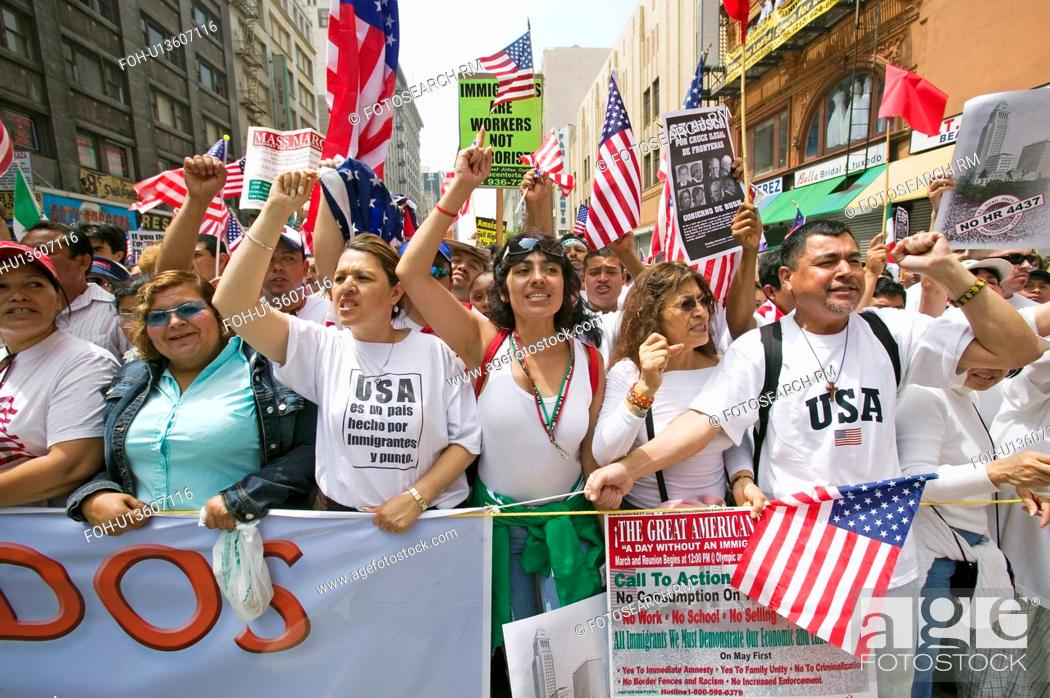 Stock Photo: Hundreds of thousands of immigrants participate in march for Immigrants and Mexicans protesting against Illegal Immigration reform by U.S.