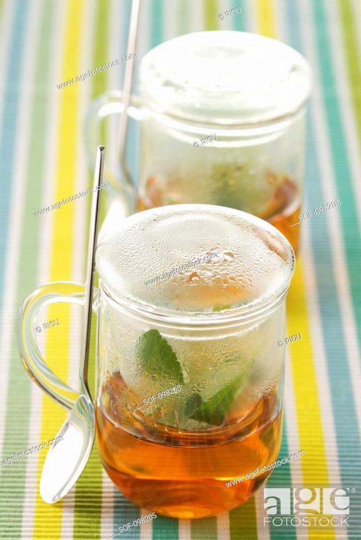 Stock Photo: glass cups for infusions.