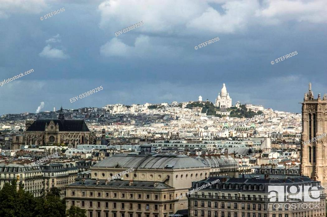 Stock Photo: Aerial View on Montmartre Hill and Sacre-Coeur Church, Paris, France.