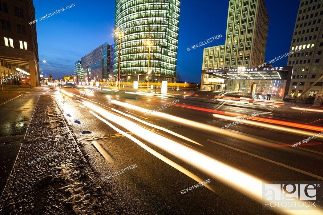 Stock Photo: traffic at potsdamer platz in berlin.