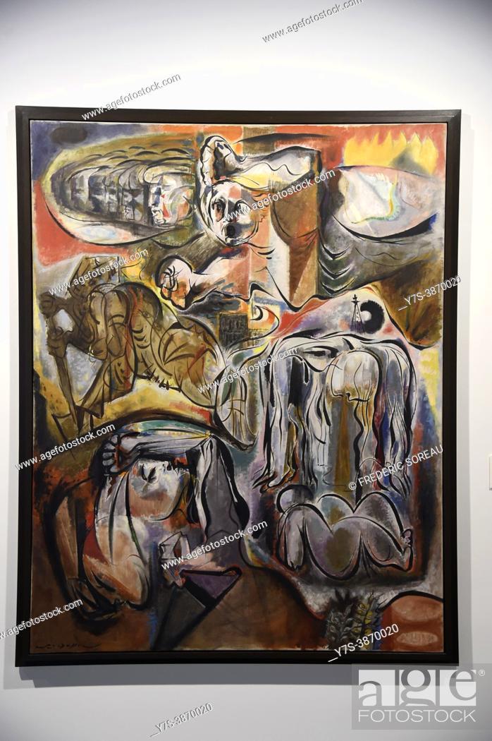 Stock Photo: La Résistance, 1944, André Masson, Centre Pompidou Malaga modern art, Andalusia, Spain.