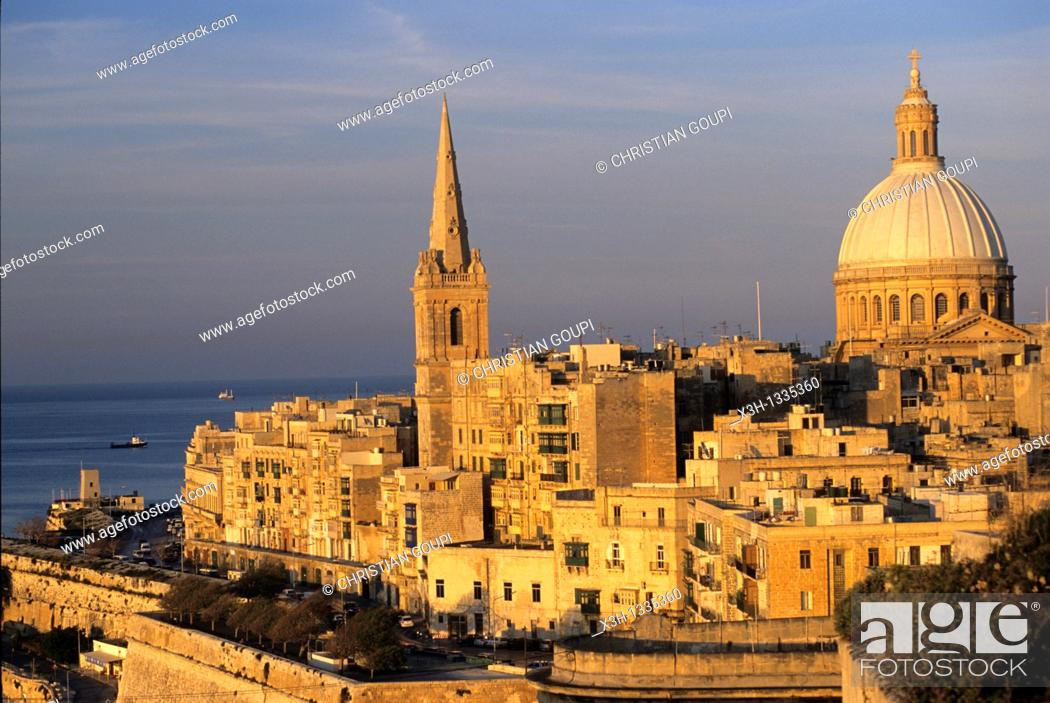 Stock Photo: St Paul's Pro-Cathedral and Basilica Our Lady of Mount Carmel, Valletta, Malta, Mediterranean Sea, Europe.