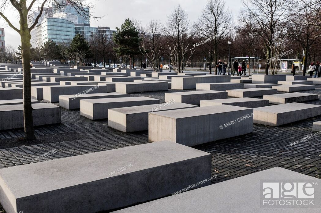 Stock Photo: Europe, Germany, Berlin, The Memorial to the Murdered Jews of Europe German: Denkmal für die ermordeten Juden Europas, also known as the Holocaust Memorial.