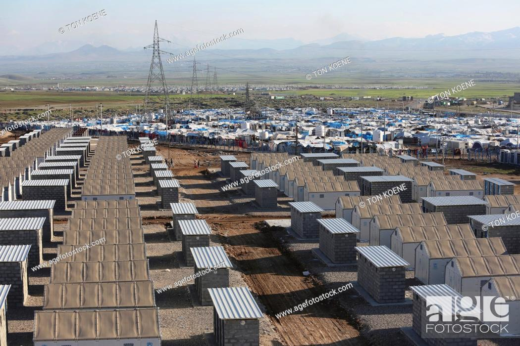Stock Photo: lavatory in refugee camp in Northern Iraq.