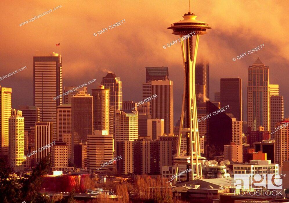 Stock Photo: Seattle skyline with Space Needle. Washington. USA.