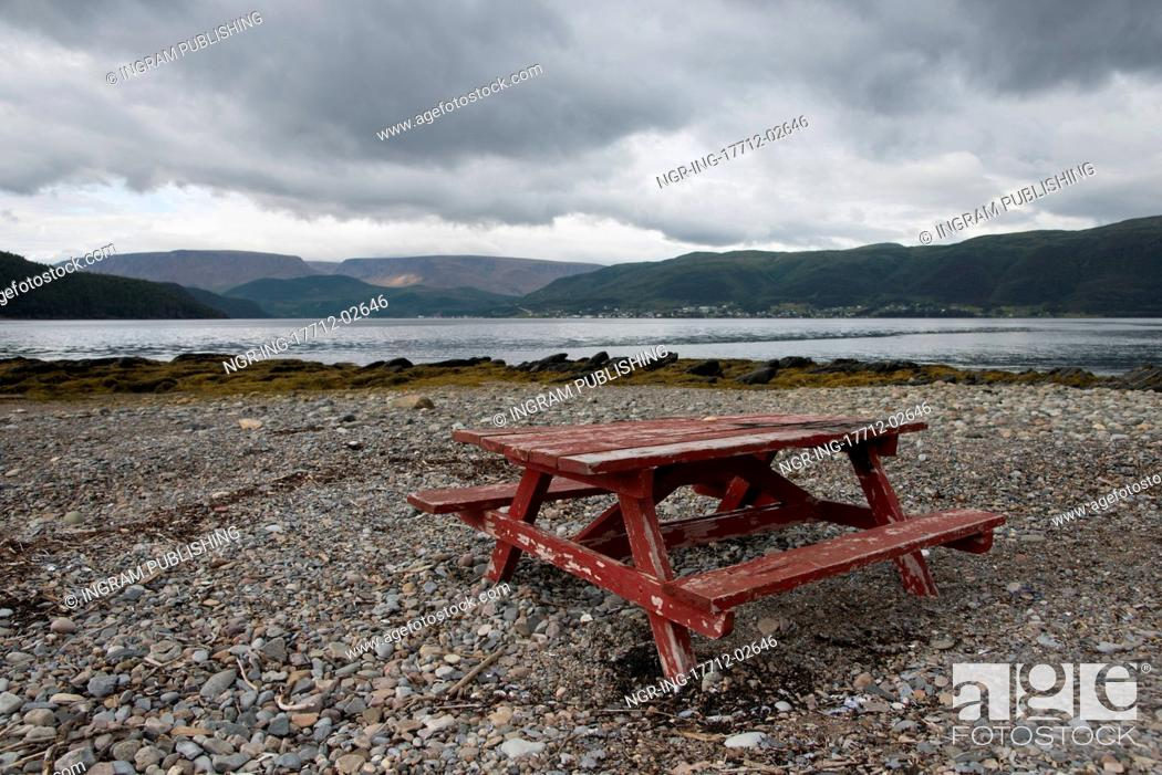 Stock Photo: Picnic Table on the pebbled beach, Bonne Bay, Norris Point, Gros Morne National Park, Newfoundland And Labrador, Canada.