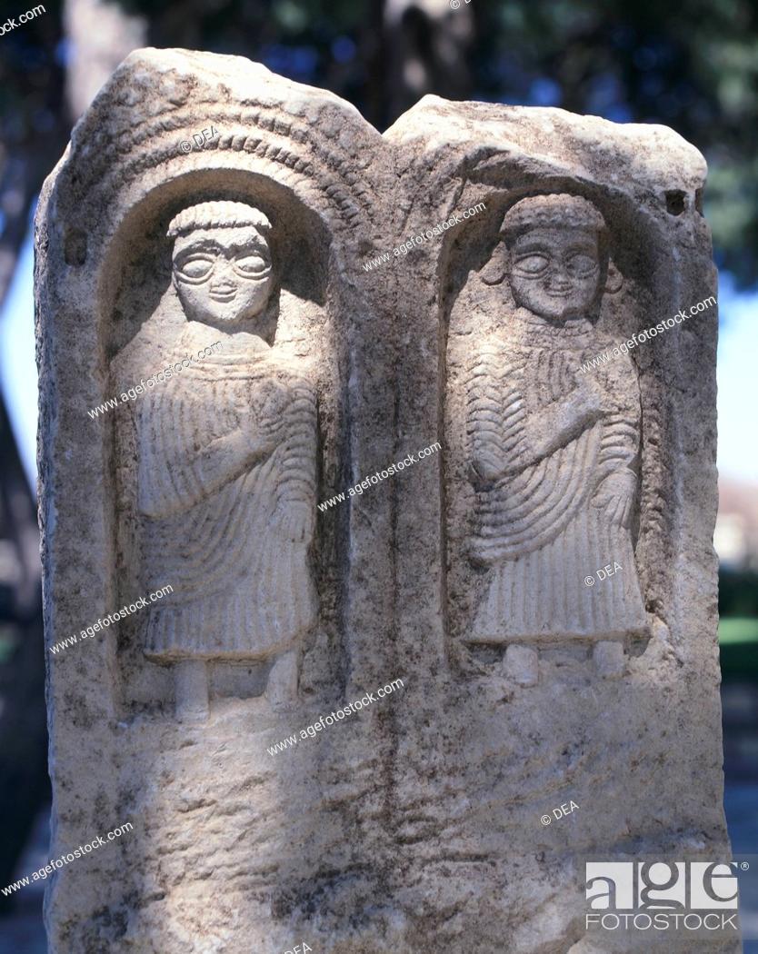 Stock Photo: Votive stele from Tophet Baal Hammon (open-air sanctuary) in Maktar (Tunisia). Punic civilization, 1st-3rd Century.  Maktar.