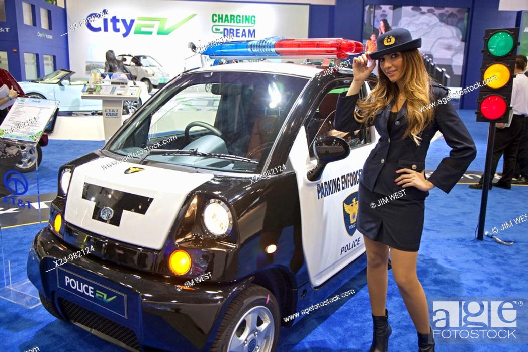 Stock Photo Detroit Michigan The Korean Made Ct T Plug In Electric Car Outed For Parking Enforcement On Display At 2010 North American