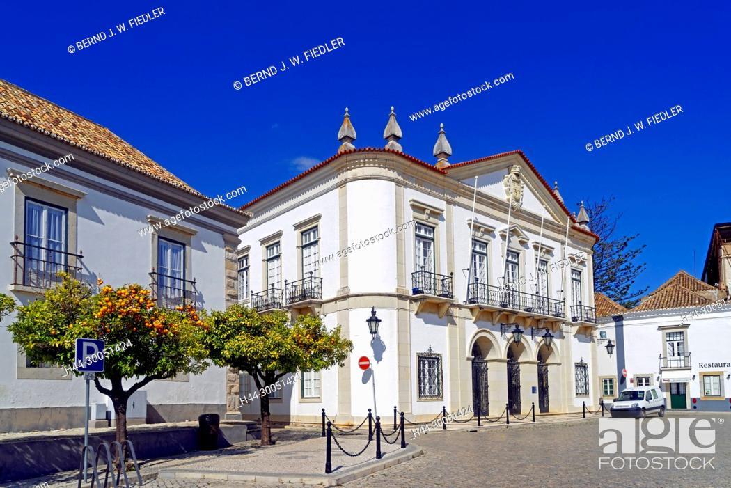 Stock Photo: City hall, orange trees, Faro Portugal,.