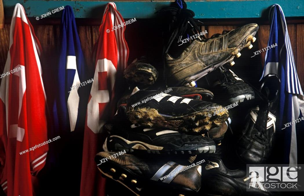 Stock Photo: Soccer cleats and game jerseys.
