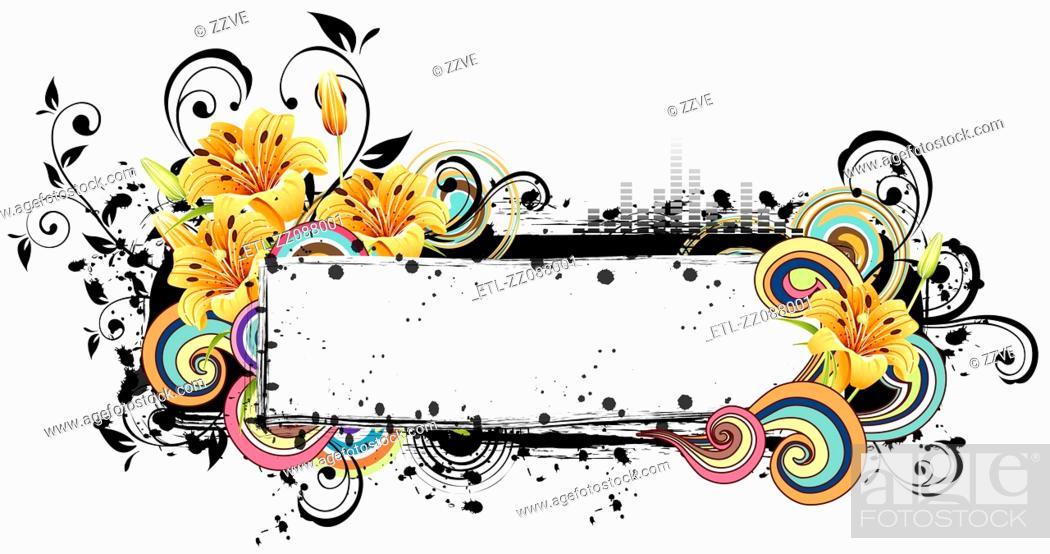 Stock Photo: Rectangular frame with flora design.