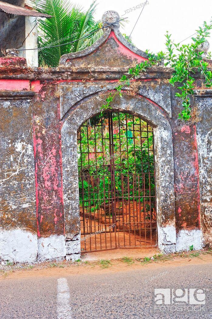 Stock Photo: derelict colonial building in Fontanhas Quarter, Panjim or Panaji, Goa, India.