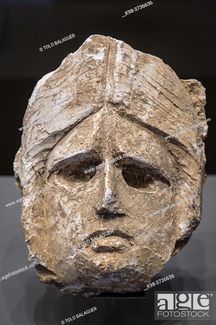 Stock Photo: sad face, Monographic Museum of Pollentia, Alcudia, Mallorca, Balearic Islands, Spain.