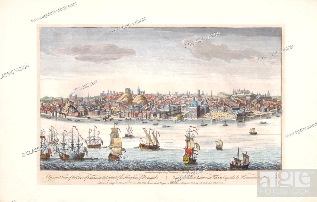Stock Photo: Lisbon, Portugal, in the mid-1700's. After a print by an unknown artist published by Robert Sayer in 1752.