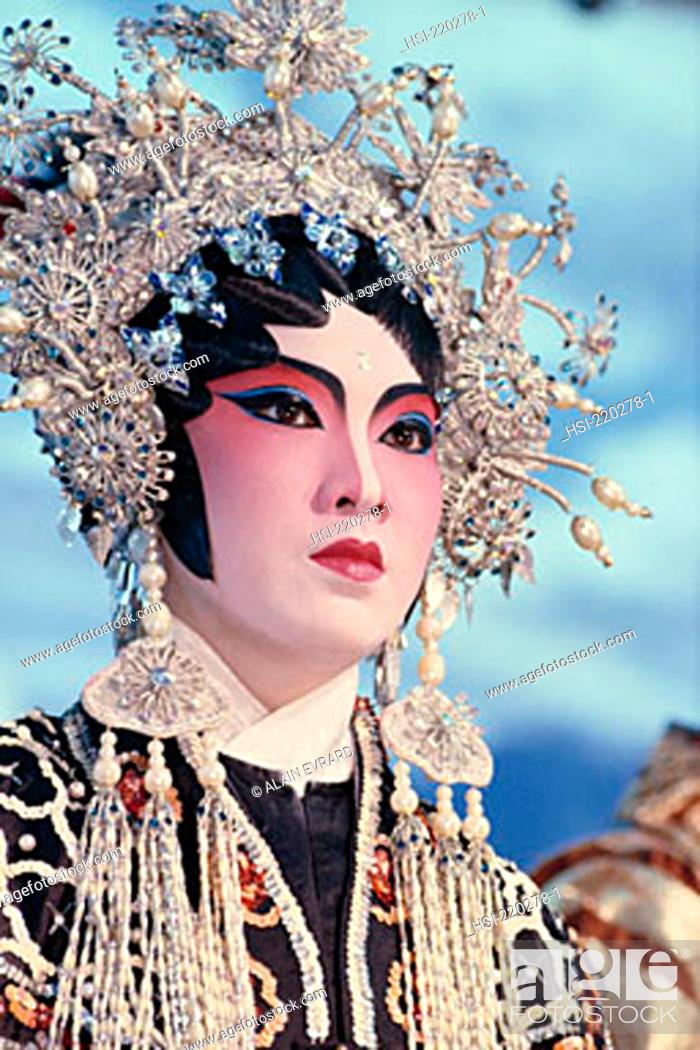 Stock Photo: Asia, Chinese culture, Chinese opera, performer, Malaysia, woman, female, opera, performance, make-up, Chinese, oriental, headdress, costume, Asian,.