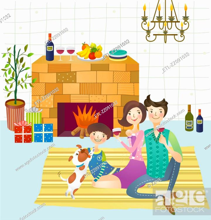Stock Photo: Family sitting in front of fireplace enjoying drinks.