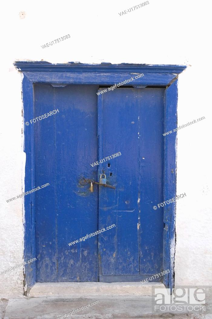 Stock Photo: Blue, Close-Up, Damaged, Day, Door.