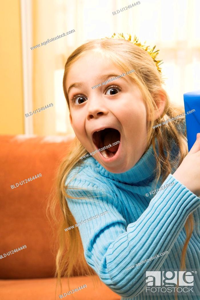 Stock Photo: Girl with excited expression.