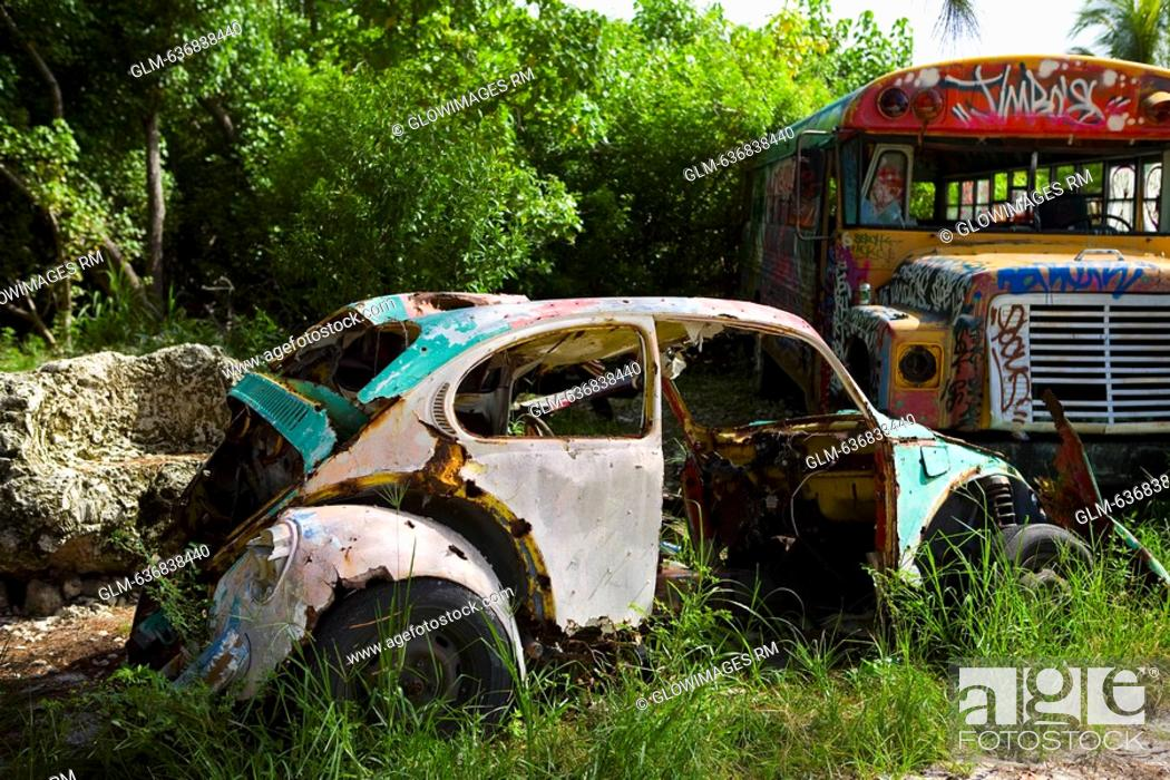 Abandoned car and a truck in a field, Virginia Key, Miami