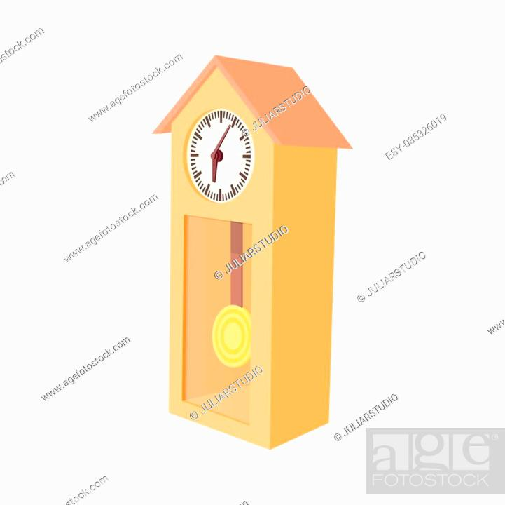 Grandfather clock icon in cartoon style on a white