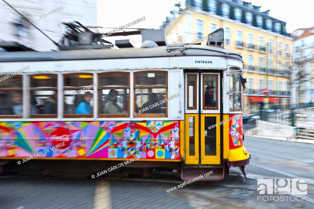 Stock Photo: Tram 28, Chiado district, Lisbon, Portugal.