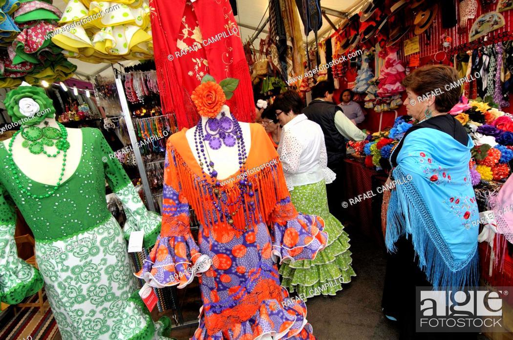 Stock Photo: Women with flamenco dresses, April Fair, Barcelona, Catalonia, Spain.