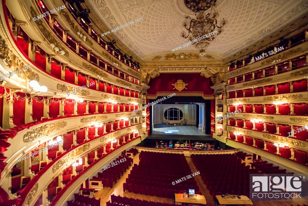 Stock Photo: Inside illuminated Scala Theater in Milan, Italy.