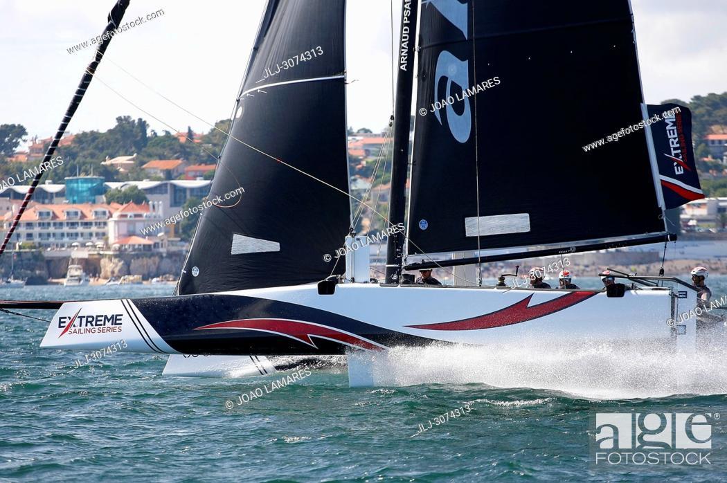 Stock Photo: Sailing: Alinghi, Swisstzerland, with Ernesto Bertarelli as a Skipper. Extremesailing Act 4 at Baia de Cascais, Cascais, Portugal.