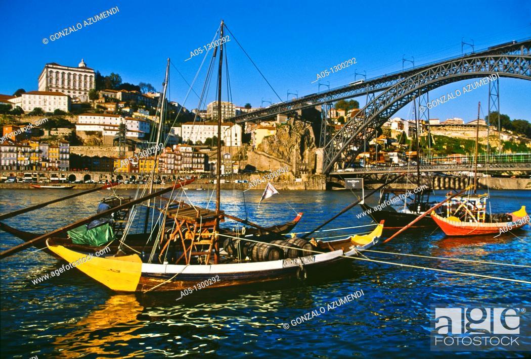 Stock Photo: City view and D  Luis I Bridge over Duero river. Porto. Portugal.