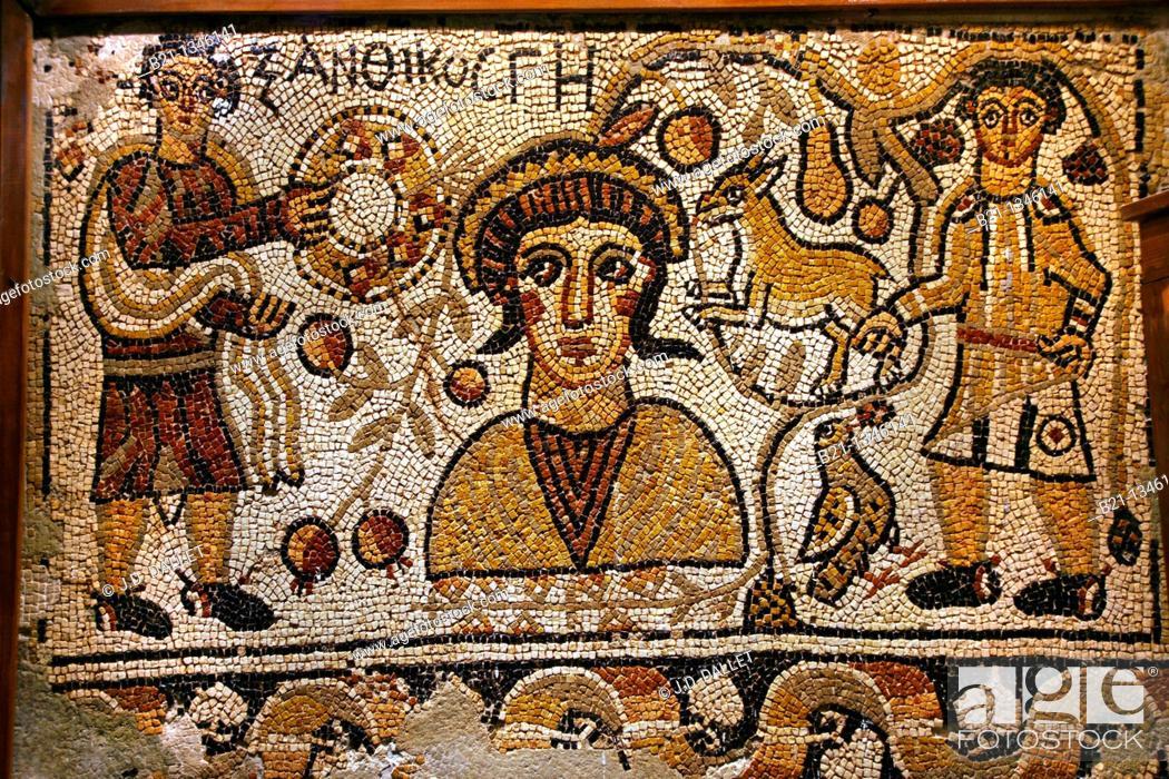 Stock Photo: 6th century mosaic from the church of Ma-adrra inside the Khan Murat Basha (16th century) home to the city museum, Maarat al-Numaan, Syria.