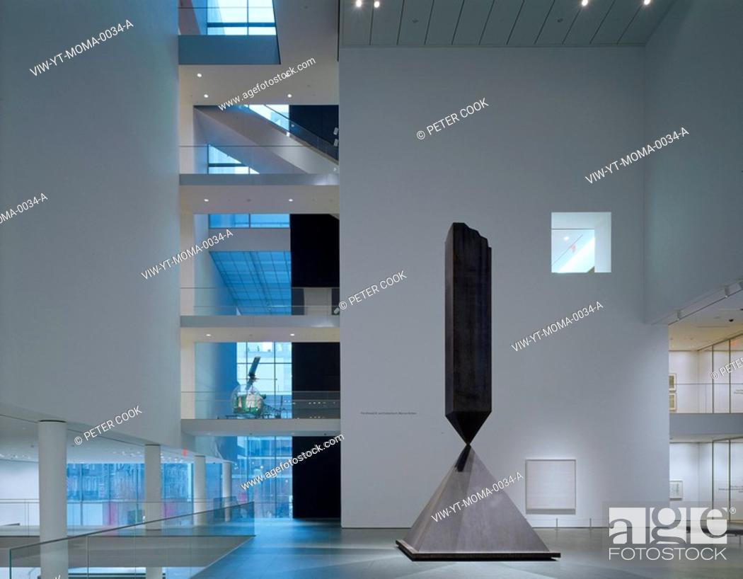 Stock Photo: MUSEUM OF MODERN ART, 53RD STREET, NEW YORK, USA, YOSHIO TANIGUCHI AND ASSOCIATES, INTERIOR, 2ND FLOOR MAIN GALLERY TO GARDEN.