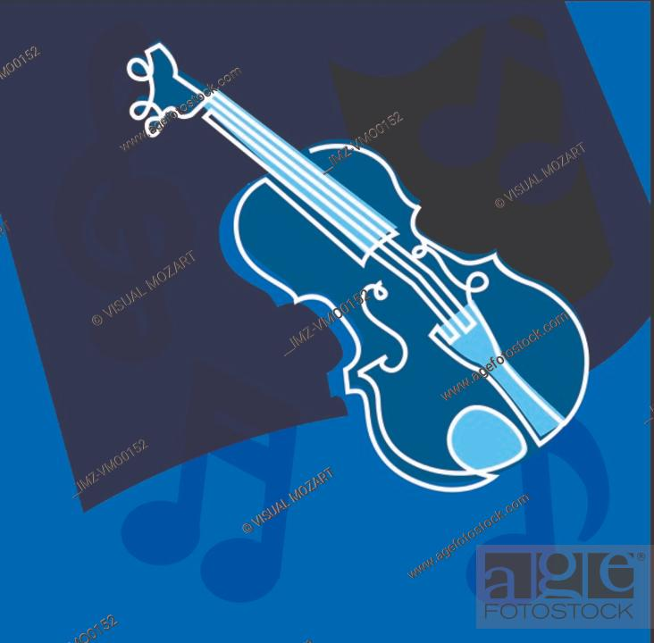 Stock Photo: Violin and musical notes.
