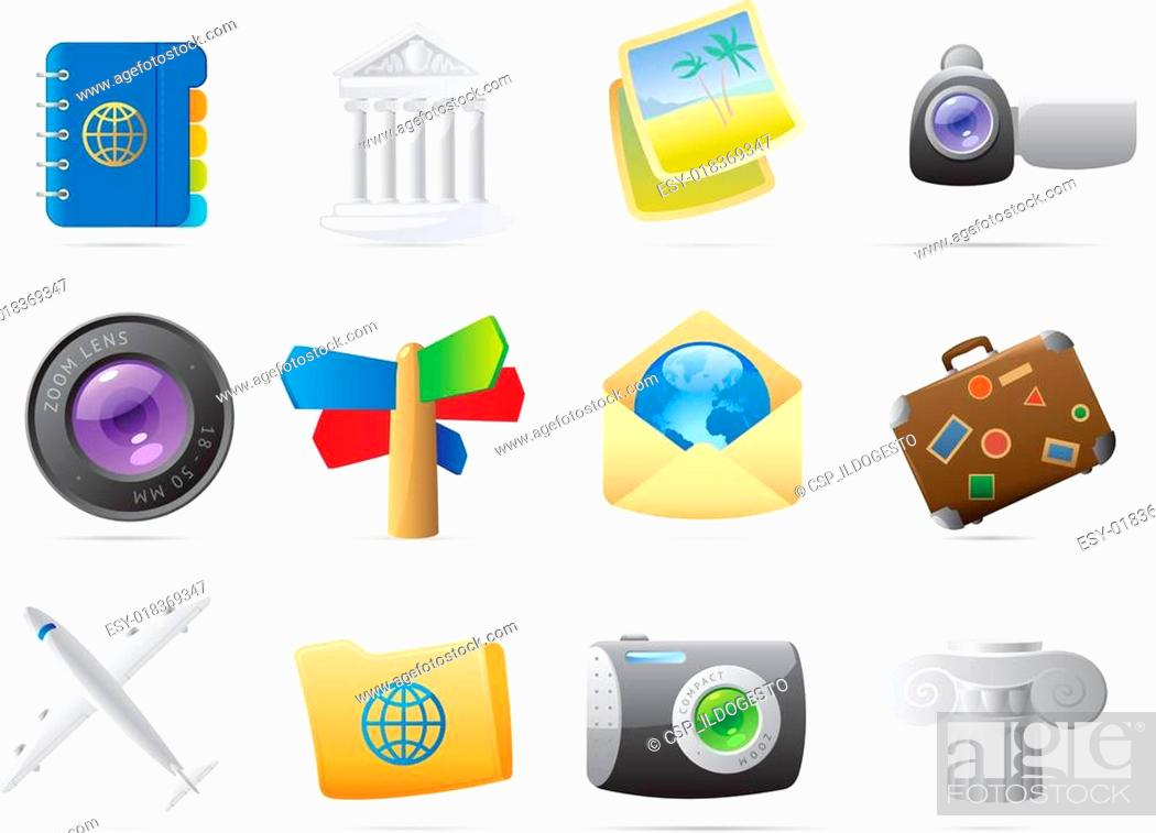 Stock Vector: Icons for travel.