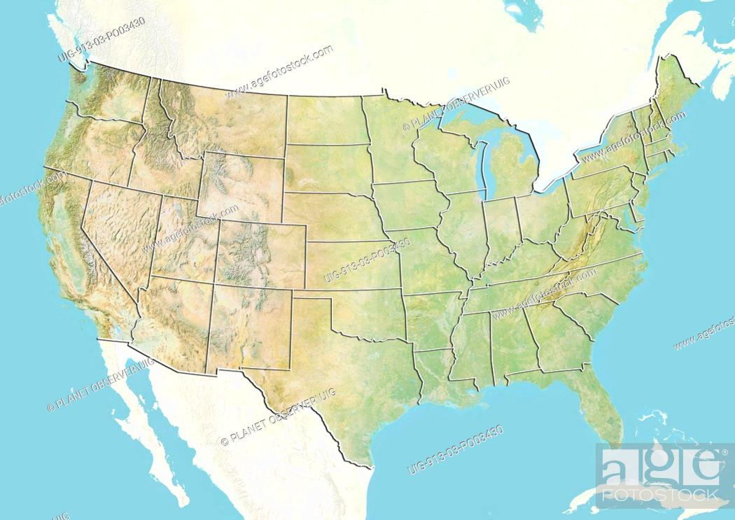 Relief map of the United States with state boundaries. This ...