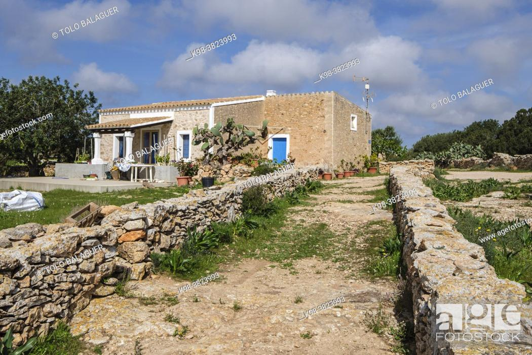 Stock Photo: traditional stone walls, typical rural house, Formentera, Pitiusas Islands, Balearic Community, Spain.