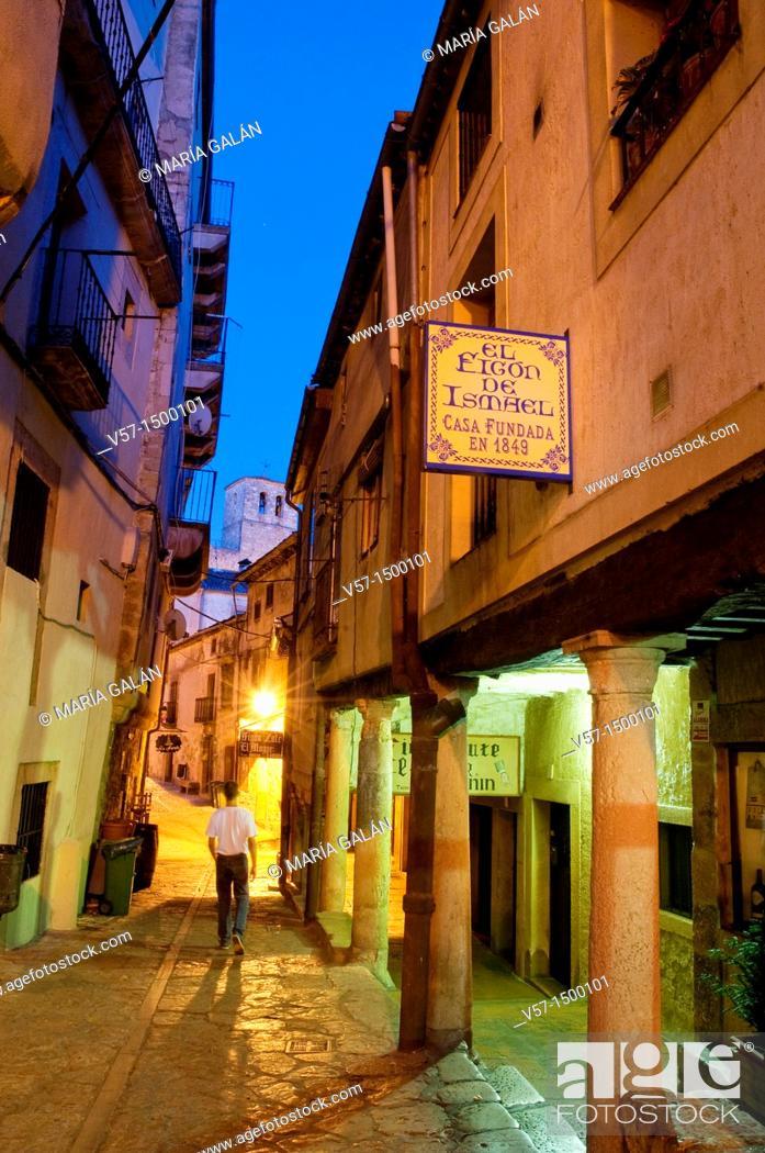 Stock Photo: Street at night. Sepúlveda, Segovia province, Castilla León, Spain.