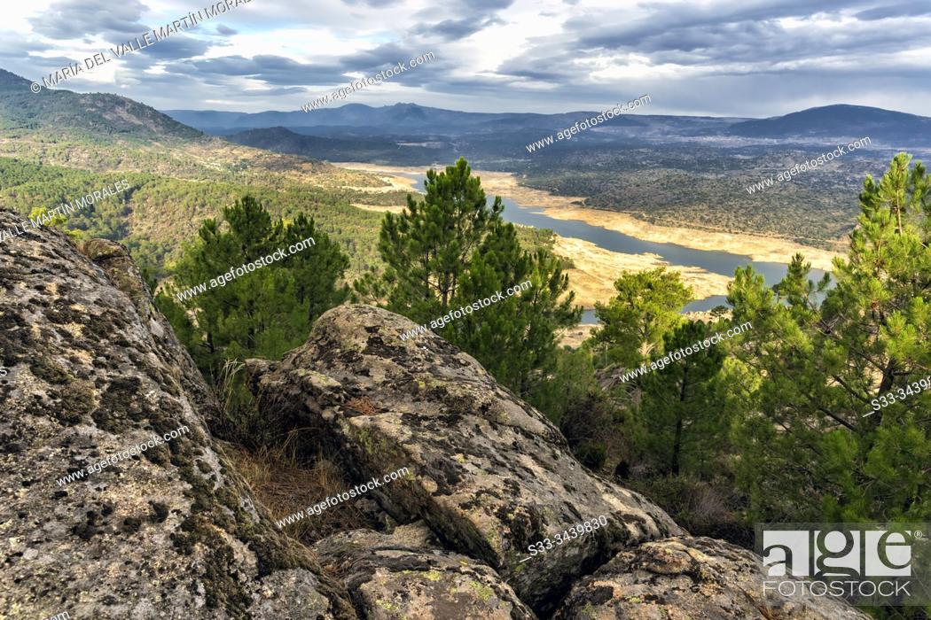 Imagen: Iruelas Valley and Buguillo reservoir almost dry on the background. Avila. Spain. Europe.