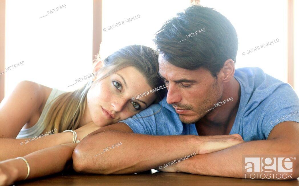 Stock Photo: Young couple portrait.